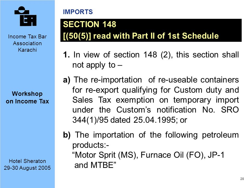 [(50(5)] read with Part II of 1st Schedule